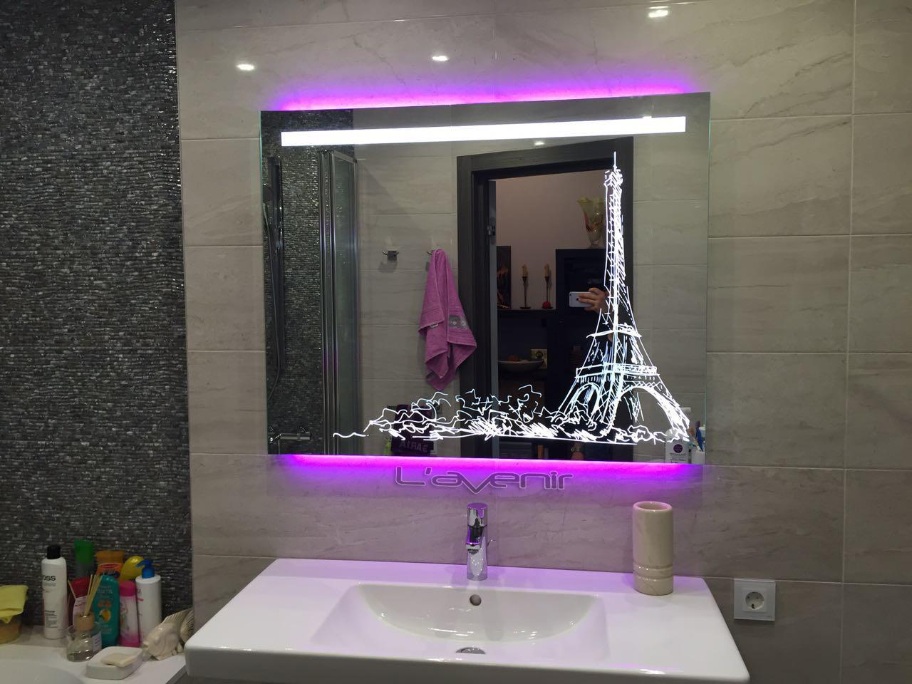 Зеркало с подсветкой, обогревом  и часами L'avenir